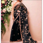 Black Stylish Embroidery Soft Net Party Saree