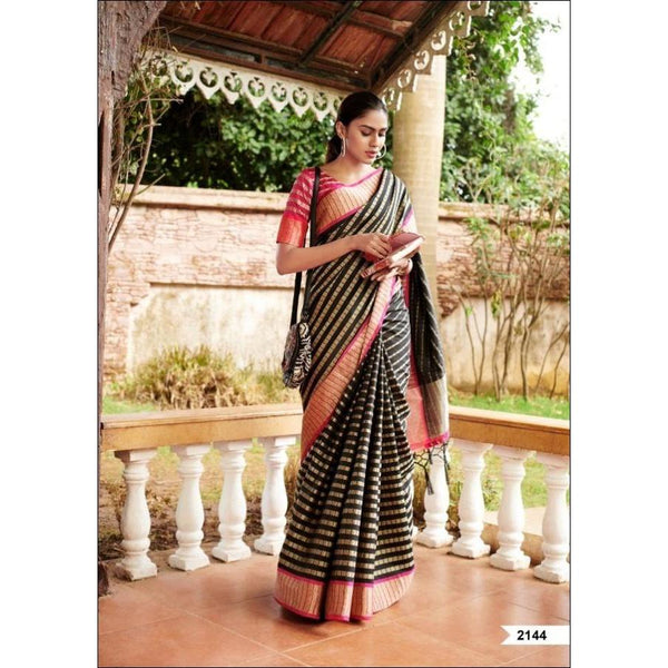Black Traditional Nakshatra Silk Saree With Grand Border