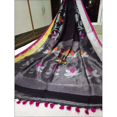 Black Trendy 100 Count Linen Party Saree