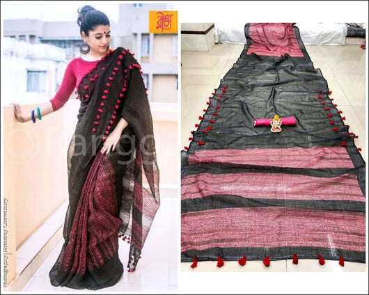 Black Trendy Linen Party Saree Party saree
