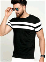 Black-White-Stripped-Cotton-T-Shirts Clothing