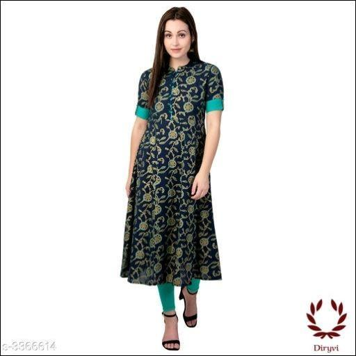 Black With Blue Elegant Cotton Women's Kurthi