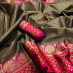 Black With Pink Ravishing Banarasi Silk Party saree