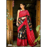 Black with Red Bhagalpuri Silk Party Saree