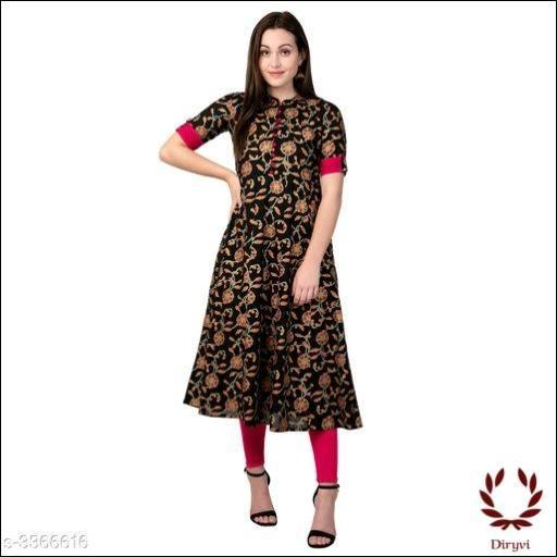 Black With Red Elegant Cotton Women's Kurthi