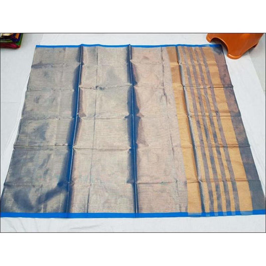 Blue Attractive Double Tone Tissue Cotton Party saree