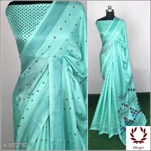 Blue Attractive Semi Lenin Party Saree
