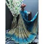 Blue cotton silk full weaving party saree