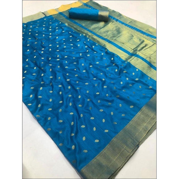 Blue Elegant and Traditional Soft Silk Saree With Butti Weaving