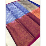 Blue Grand Soft Banarasi Silk Saree