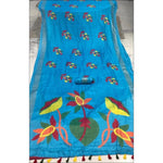 Blue Kesh Blended Linen Party Saree With  Worked Pallu and Fancy Tussels