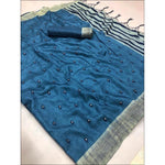 Blue Lenin Silk Party Saree With Embroidery