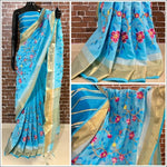 Blue linen Party Saree With Thread Embroidery
