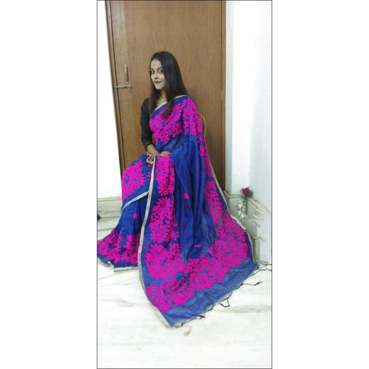Blue Party Wear Saree With Contrast Pink Colour Aari Work