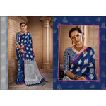 Blue Royal Antique Banarasi Art Weaving Party Wear Silk Saree