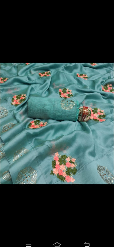 Blue Shiffon Party Saree With Pink Tree Embroidery Pattern Party saree