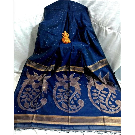 Blue Silk Cotton Trendy Sequence Party  Saree