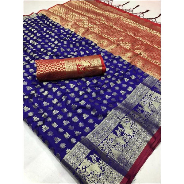 Blue Soft Silk Weaving Party Saree With Contrast Blouse