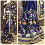 Blue Stylish Embroidery Pure Silk Party Saree