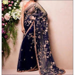 Blue Stylish Embroidery Soft Net Party Saree