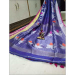 Blue Trendy 100 Count Linen Party Saree