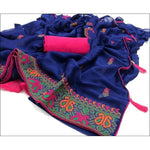 Blue Trendy Two Tone Chiffon Silk With Kashmiri Embroidery Party saree