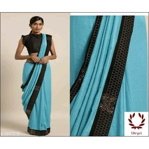 Blue Vichitra Silk Elegant Party Saree