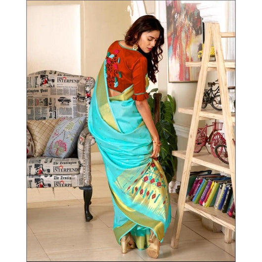 Blue With Contrast Blouse Elegant Soft Silk Party Saree