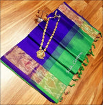 Blue With Green Pure Silk cotton Silk Saree With Pochampalli Border Silk Saree
