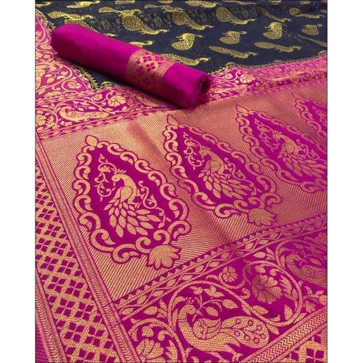 Blue With Pink Classic Soft Silk Saree