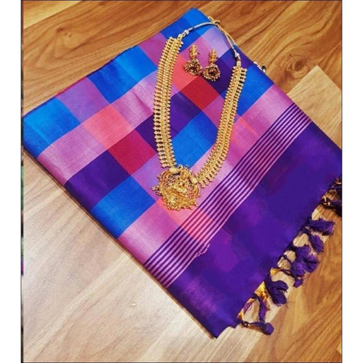 Blue With Pink Multi Coloured Checks Tradition Pure Silk Cotton Silk Saree