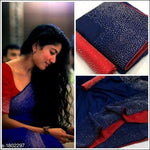 Blue With Red Contrast Blouse Elegant Party Saree