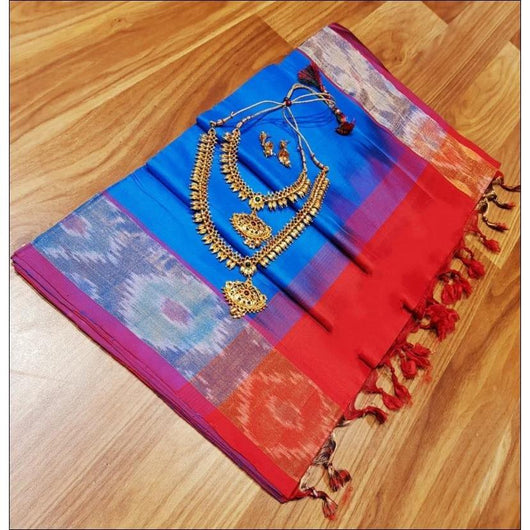 Blue With Red Pochampally Tradition Pure Silk Cotton Silk Saree