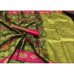 Bottle Green Banarasi Kora Muslin Party Saree