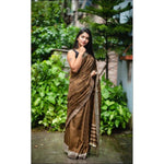 Brown Lenin Silk Party Saree With Embroidery