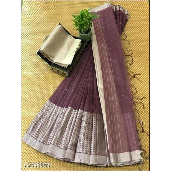 Brown Stylish Elegant Jamdani Silk Saree