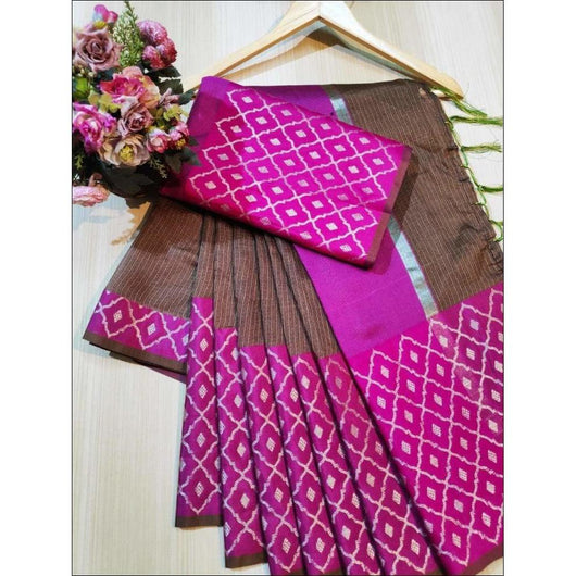 Brown With Pink Doriya Summer Wear Party Saree