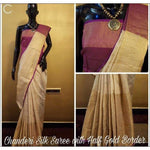 Chanderi Party Saree With Gold Weaved Border