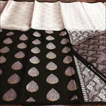 Classic Black With White Exclusive Kora Muslim Tissue Party saree
