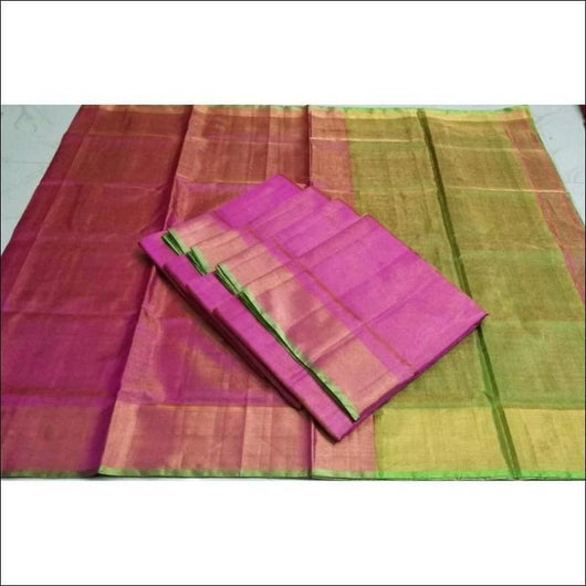 Classy Pink With Green Uppada Tissue Silk Saree