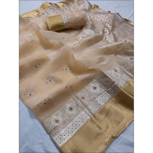 Creme Pure Organza Silk Elegant Party Saree