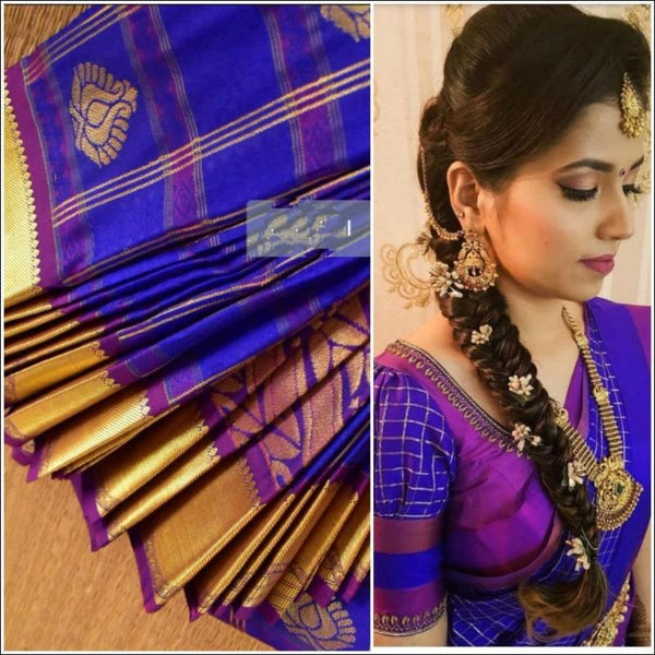 Dark Blue Exclusive Bridal Collection Silk Saree
