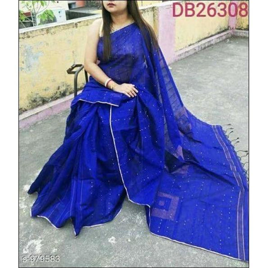 Deep Blue Cotton Silk Trendy and Stunning Handloom Party Wear Saree