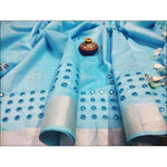 Elegant Blue Royal Mirror Embroidery Linen Party Saree
