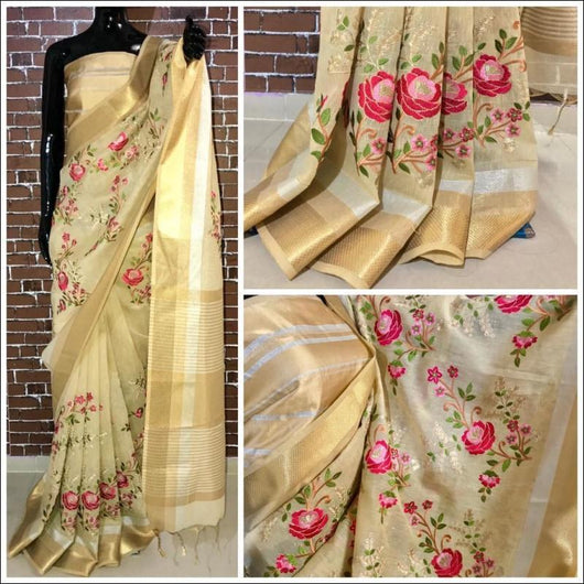 Elegant Half White linen Party Saree With Thread Embroidery