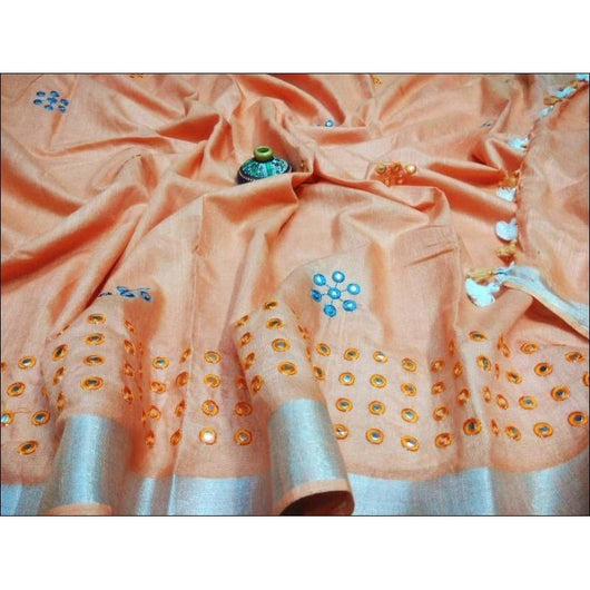 Elegant Peach Royal Mirror Embroidery Linen Party Saree