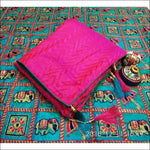 Exclusive Bright Pink Sana Silk Party Saree With Rich Embroidery Blouse