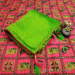 Exclusive Green Sana Silk Party Saree With Rich Embroidery Blouse