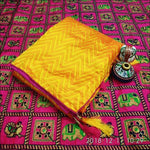 Exclusive Yellow Sana Silk Party Saree With Rich Embroidery Blouse
