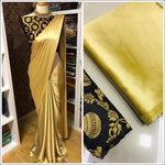 Gold Elegant And Trendy Satin Party Saree With Banarasi Blouse Party saree